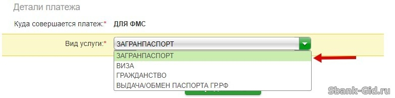 Оплата услуг ФМС за загранпаспорт в Сбербанк Онлайн
