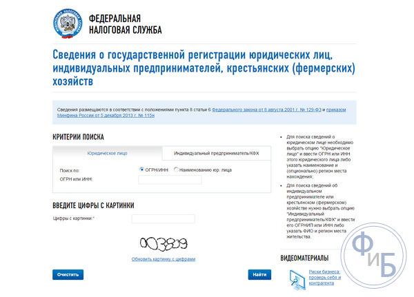 Поиск на официальном портале ФНС