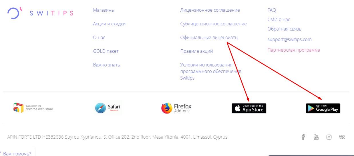 мобильное приложение свитипс на сайте