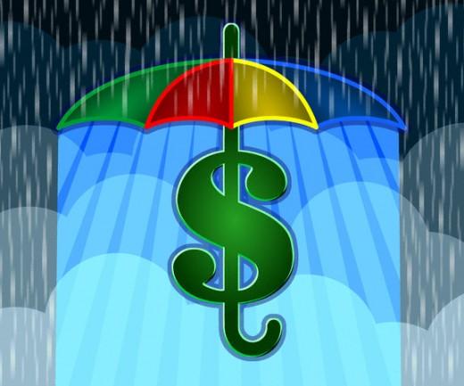 значок доллара под радужным зонтом